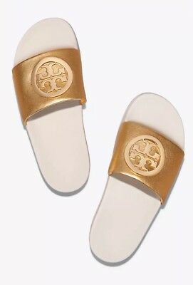 9fb6a507cd77e NIB TORY BURCH Lina Quilted Logo Slide Sandal Black Ivory Women s ...