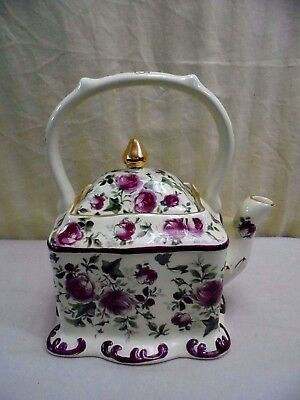 Vintage Japanese Porcelain Hand Painted Open Rose & Gold Teapot Tea Pot