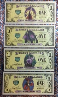 2013 Disney Villians & Heroes $1 All 4 Bills D Series W/Cruella error