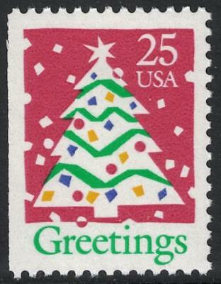 Scott 2516- Greetings, Christmas Tree (Booklet Issue)- MNH 1990- 25c mint stamp