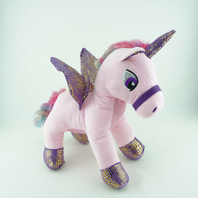 12 Inch Pink Unicorn Plush With Wings Stuffed Animal Toy Standing