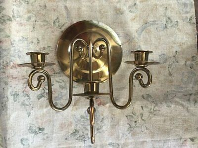 Vintage Brass Wall Sconce Three Candle Holder Candelabra Hollywood Regency Decor
