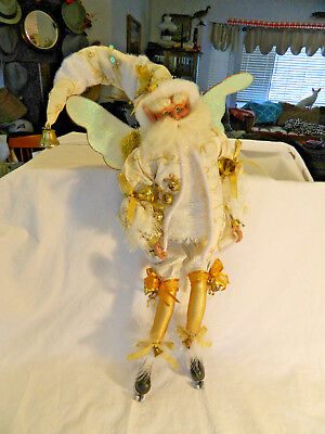 """Mark Roberts Large Fairy White Suit w/Gold Trim With Ice Skates & Gold Bells 18"""""""