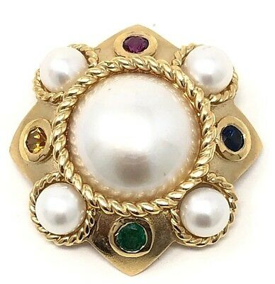 Vintage 14K Yellow Gold Pearl and Natural Gemstones Brooch Pin