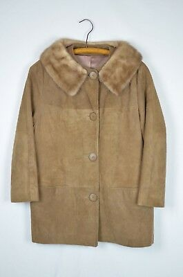 Vintage Brown Leather Suede Button up Coat Fur Collar Mink Size Medium
