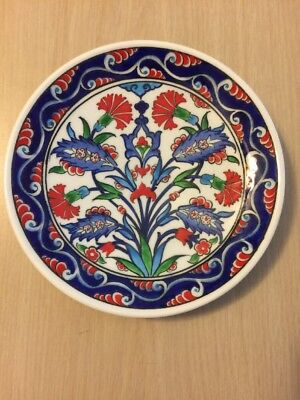 Hand Painted Plate Kutahya Turkey Signed By Artist Flowers Blue White Red