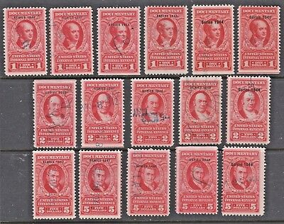 US Revenues 16 Different Large Red Documentary Stamps $1 $2 $5 1940-1945 (#02)
