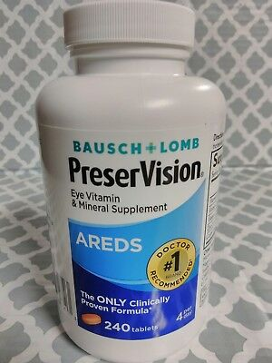 Bausch Lomb Preservision Areds Eye Vitamin Mineral Supplement 240 Tablets 01/20
