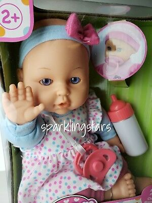 Baby Doll with pacifier and baby bottle Girl Kids Toddler Cute Plush Soft Gift