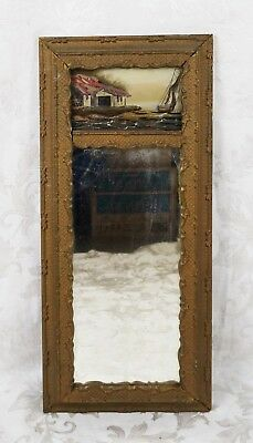 Antique 19th Century Gold Gilt Gesso Federal Mirror Reverse Painted Sailboat