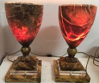"""Vintage Pair Of Marble Table Lamps Glowing 15""""H Heavy UNIQUE"""