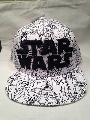 Star Wars Snapback Hat Black/White Characters All Over With Logo Disney New w/ta