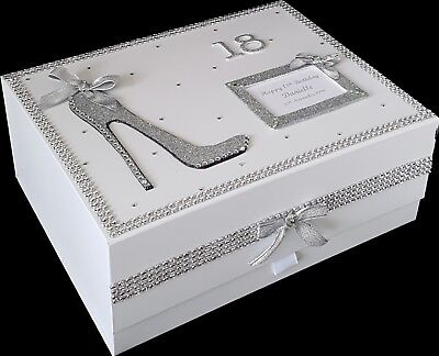 18th Birthday Gift PERSONALISED Large Keepsake Memory Box Silver More Colours