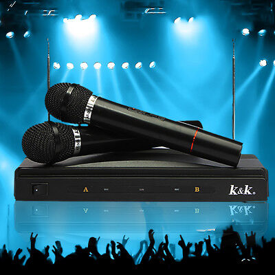 Dual Cordless Wireless Mic Microphone + One Receiver for Karaoke DJ Sing Songs