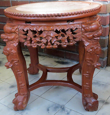 """Antique~CARVED 18""""H WOOD&MARBLE CHINESE/ASIAN/ORIENTAL PLANT STAND/TABLE"""