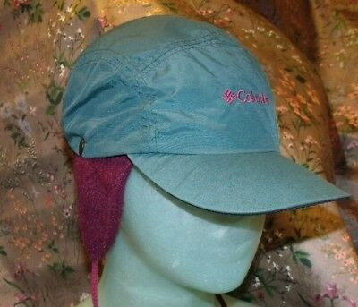 Vintage Columbia 5 Panel Winter Hat LARGE Fleece Liner Made in USA