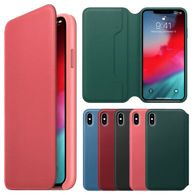 For Apple iPhone XS MAX Leather Folio Flip Wallet OEM Protective Case Cover USA