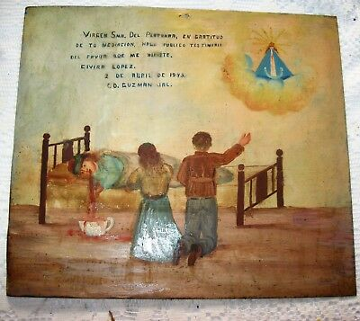 Original 1943 Exvoto Woman Thanking Our Lady Del Platanar For Favor Received