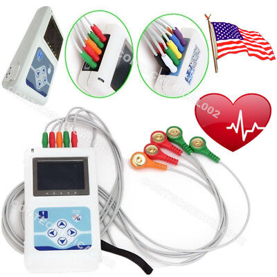 TLC9803 24 Hours Dynamic ECG Holter 3 Channel EKG Analyzer Recorder 12 Leads USB