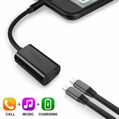 2in1 Splitter Earphone Audio Music Adapter+Charger Dongle For iPhone XS XR New