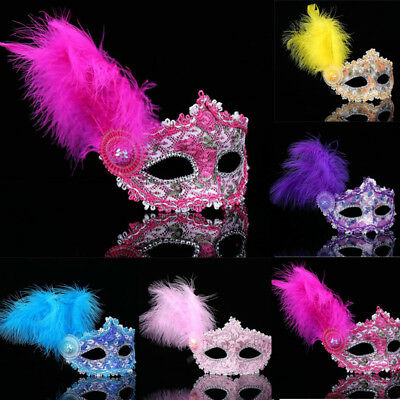 Women Carnival Feather Plastic Mask with Glitter Masquerade Prom Costume Party 1