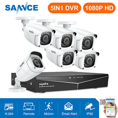 SANNCE 5in1 8CH 1080N DVR 6x 720P TVI IR Night CCTV Home Security Camera System