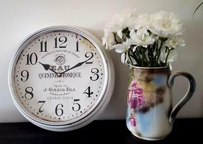 VINTAGE Style WALL CLOCK Metal with Glass Face KITCHEN Living French Country New