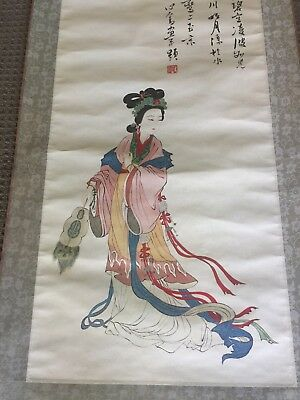 Large Chinese Scroll Painting of Maiden