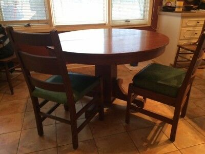 "Antique 48"" Round Oak Table with 4 Stickley Style Oak Chairs"