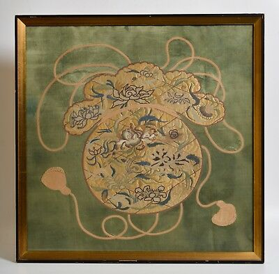 Antique Asian Embroidery, textile, silk, green, Chinese Japanese Korean