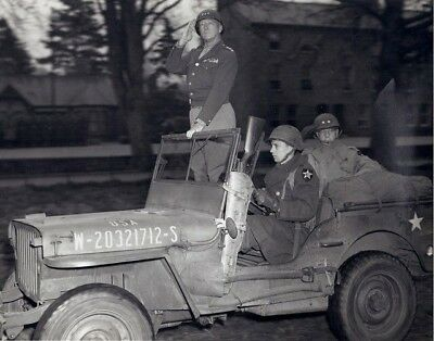 WW2 WWII Photo World War Two US Army General Patton in Jeep for Review  / 3159