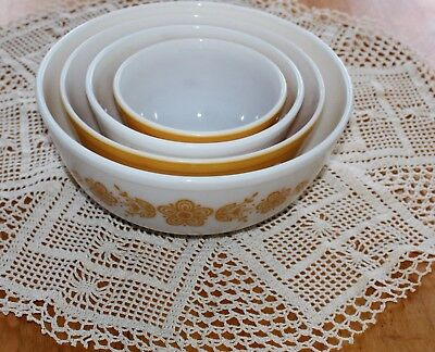 Pyrex Corning - BUTTERFLY GOLD NESTING BOWL SET #404,403,402,401 - Four PC GUC