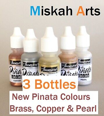 JACQUARD PINATA Alcohol Inks 14ml -  3 BOTTLES  -  BRASS, COPPER & PEARL - NEW!