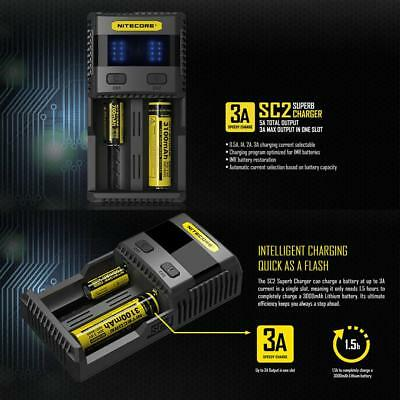 For NITECORE SC2 Smart Charger Lithium Battery Charger 3A+2A MAX US AU UK Plug