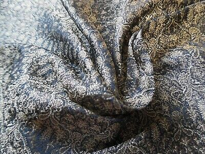 "MICRO PRINT JACQUARD SILK BROCADE~DARK BLUE-GREY/GOLD~9""x22""~DOLL FABRIC"