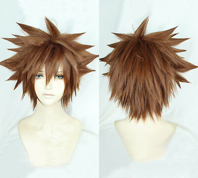 Kingdom Hearts III Sora Short Afro Pale Brown Cosplay Hair Wig + Wig Cap