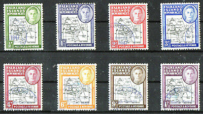 Falkland Island Dependencies 1946 Thick Map Set (8)  Sg G1-8  Very Fine Used