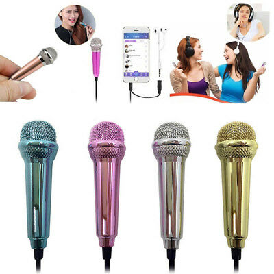 3.5mm Portable Wired Mini Cell Phone Microphone Stereo Mic for Chatting Singing