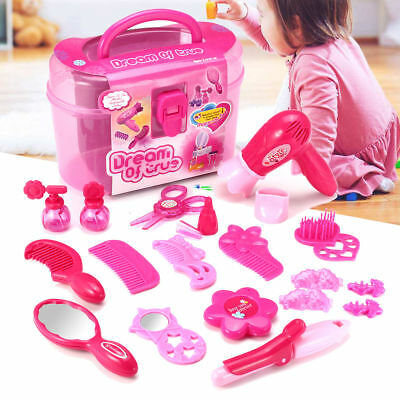 Girls Princess Makeup Toys Set Hairdressing Beauty Cosmetic Carry Case Kids Gift