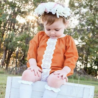 Newborn Infants Baby Girls Patchwork Lace Romper Bodysuit Outfits Clothes