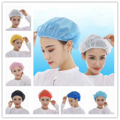 Blue White Pink Mesh Top Skull Cap Catering Chefs Kitchen Elastic Hat