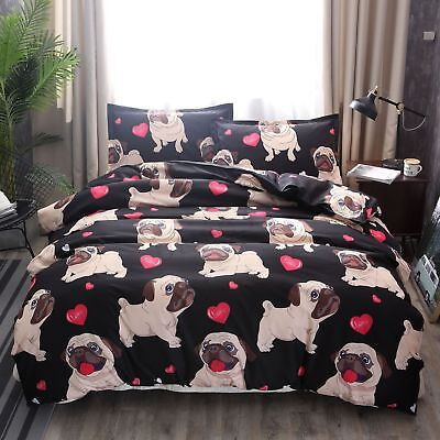 Pug Puppy Print Bedding Sets Duvet Cover Cute Dog Quilt Cover Fitted Pillowcase