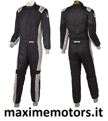 Tuta SIMPSON REVO nera 54 FIA 8856/2000 nuova rally pista Light Suit