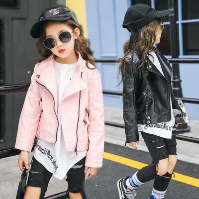 5f4b63679 KIDS LEATHER JACKETS Jacket Cool Baby Boys Girls Motorcycle Biker ...