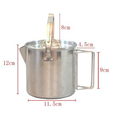AU 1.2L Camping Hiking  Outdoor Stainless Steel Picnic Tea Water Kettle Bottle