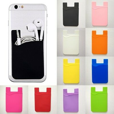Silicone Universal Mobile Phone Wallet Credit Card Cash Holder Case DIY Sticky