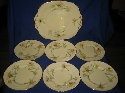 Crown Staffordshire F 13759 Daffodil Flowers Tea / Side Plates and Cake Plate