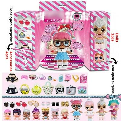 UK LOL SURPRISE DOLLS Series Collectable 2pcs Mystery Dolls Kids Girls Xmas Gift