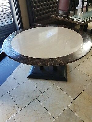 Marble tables, rectangle, round and square with caste iron legs.
