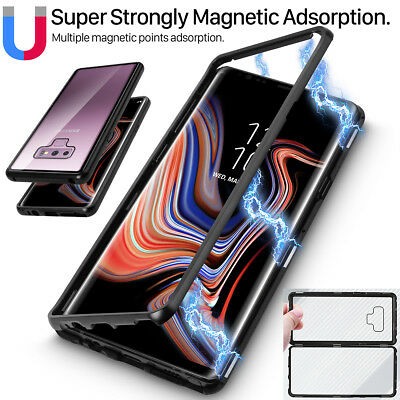 For Samsung Galaxy Note9 8 9 Plus Magnetic Metal Clear Tempered Glass Case Cover